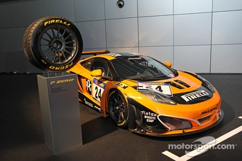A McLaren MP4-12C with Pirelli tires