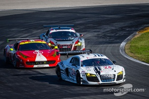 #24 Audi Sport Customer Racing/AJR Audi R8 Grand-Am: Filipe Albuquerque, Oliver Jarvis, Edoardo Mortara, Dion von Moltke, #63 Scuderia Corsa Ferrari 458: Alessandro Balzan, Marco Frezza, Alessandro Pier Guidi, Olivier Beretta, #52 Audi Sport Customer Raci