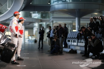 Sergio Perez, McLaren and team mate Jenson Button, McLaren unveil the new McLaren MP4-29
