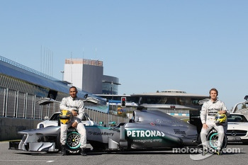 Lewis Hamilton, Mercedes AMG F1 and team mate Nico Rosberg, Mercedes AMG F1 with the new Mercedes AMG F1 W04
