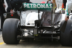 Mercedes AMG F1 W04 running sensor equipment on the rear wing