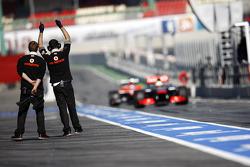 Sergio Perez, McLaren MP4-28 enters the pits