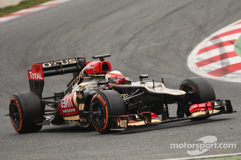 Romain Grosjean, Lotus F1 E21 with sensor equipment on the wheels