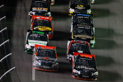 Todd Bodine and Johnny Sauter battle for the lead
