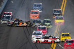 Last lap crash: Regan Smith spins out of control, Brad Keselowski spins in front of Sam Hornish Jr. and hit by Kyle Larson