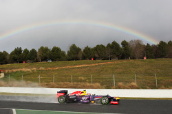 Mark Webber, Red Bull Racing RB9 passes a rainbow