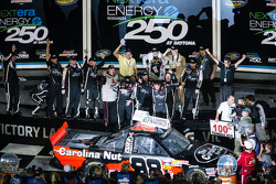 NASCAR-TRUCK: Victory lane: race winner Johnny Sauter celebrates
