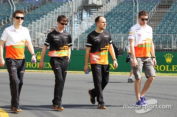 Paul di Resta, Sahara Force India F1 walks the circuit with Gianpiero Lambiase, Sahara Force India F1 Engineer