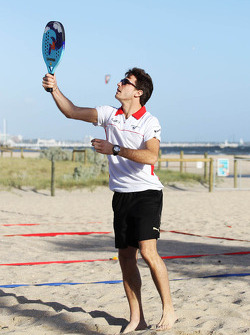 Jules Bianchi, Marussia F1 Team plays beach tennis