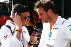 (L to R): Will Buxton, NBS Sports Network TV Presenter with Giedo van der Garde, Caterham F1 Team
