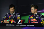 (L to R): Mark Webber, Red Bull Racing and pole sitter Sebastian Vettel, Red Bull Racing in the FIA Press Conference