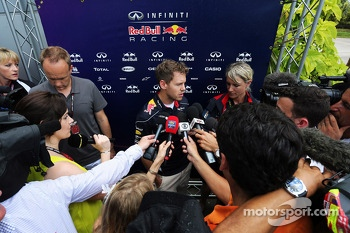 Sebastian Vettel, Red Bull Racing with the media