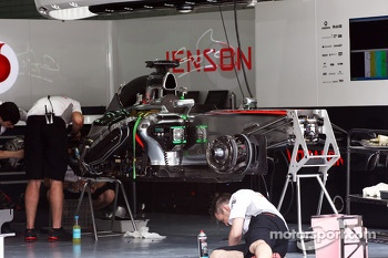McLaren MP4-28 of Jenson Button, McLaren is prepared in the pits