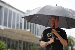 Kimi Raikkonen, Lotus F1 Team during a storm