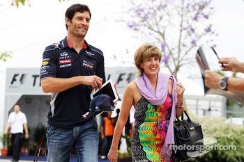Mark Webber, Red Bull Racing with his partner Ann Neal