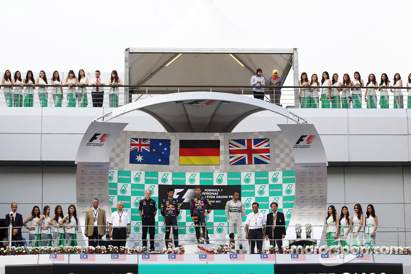 Podium: race winner Sebastian Vettel, Red Bull Racing, second place Mark Webber, Red Bull Racing, third place Lewis Hamilton, Mercedes AMG F1