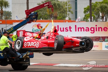 Damaged car of Dario Franchitti, Target Chip Ganassi Racing Honda