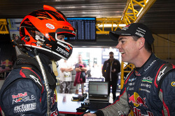 Jamie Whincup, Red Bull Holden celebrates his pole position with Craig Lowndes, Red Bull Holden