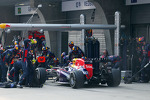 Sebastian Vettel, Red Bull Racing RB9 makes a pit stop