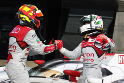 Allan McNish celebrates victory with second place Benoit Tréluyer