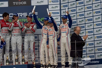 LMP1 Podium: First Place Tom Kristensen, Loic Duval, Allan McNish; Second Place Andre Lotterer, Benoit Trluyer, Marcel Fssler; Third Place Anthony Davidson, Sebastien Buemi, Stphane Sarrazin