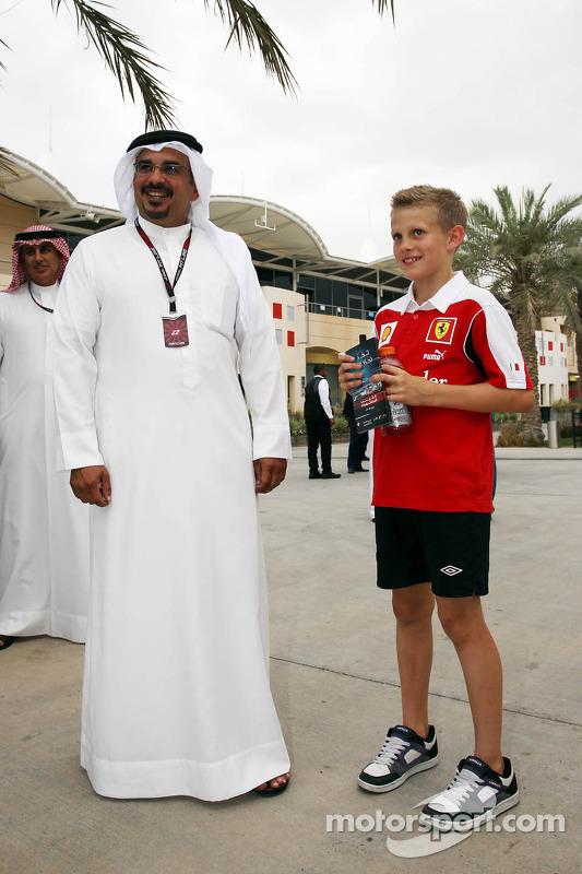 HRH Prince Salman bin Hamad Al Khalifa, Crown Prince of Bahrain with a young Ferrari fan