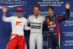 Pole for Nico Rosberg, Mercedes AMG F1 W04, 2nd for Sebastian Vettel, Red Bull Racing and 3rd for Fernando Alonso, Ferrari F138