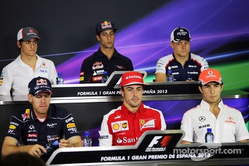 The FIA Press Conference, Esteban Gutierrez, Sauber; Daniel Ricciardo, Scuderia Toro Rosso; Valtteri Bottas, Williams; Sebastian Vettel, Red Bull Racing; Fernando Alonso, Ferrari; Sergio Perez, McLaren