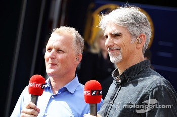 (L to R): Johnny Herbert, Sky Sports Presenter with Damon Hill, Sky Sports Presenter