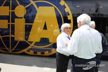 (L to R): Bernie Ecclestone, CEO Formula One Group, with Herbie Blash, FIA Delegate and Charlie Whiting, FIA Delegate