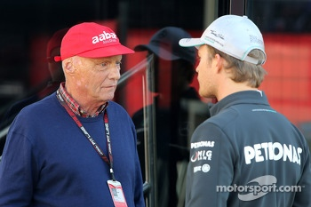 Niki Lauda, Mercedes GP and Nico Rosberg, Mercedes GP