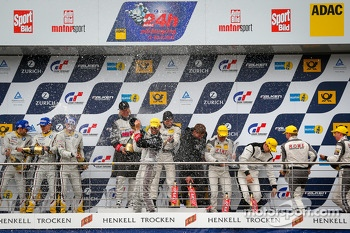Podium: race winners Bernd Schneider, Jeroen Bleekemolen, Sean Edwards, Nicki Thiim, second place Maxime Martin, Andrea Piccini, Yelmer Buurman, Richard Göransson, third place Klaus Graf, Thomas Jäger, Jan Seyffarth, Nico Bastian