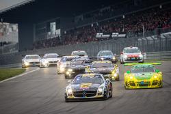 #10 Black Falcon Mercedes-Benz SLS AMG GT3 (SP9): Andrii Lebed, Andreas Simonsen, Dennis Rostek, Harald Proczyk and #50 Manthey-Racing Porsche 911 GT3 R (SP9): Marco Holzer, Nick Tandy, Jörg Bergmeister, Richard Lietz