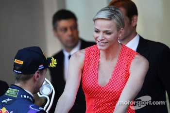 Sebastian Vettel, Red Bull Racing celebrates his second position on the podium with Princess Charlene of Monaco (RSA)