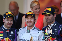 The podium: Sebastian Vettel Red Bull Racing, second; Nico Rosberg, Mercedes AMG F1, race winner; Mark Webber, Red Bull Racing, third