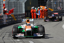 Adrian Sutil, Sahara Force India VJM06 celebrates at the end of the race