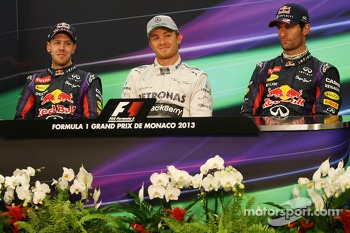 The FIA Press Conference, Sebastian Vettel, Red Bull Racing, second; Nico Rosberg, Mercedes AMG F1, race winner; Mark Webber, Red Bull Racing, third