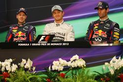 The FIA Press Conference, Sebastian Vettel, Red Bull Racing, second; Nico Rosberg, Mercedes AMG F1, race winner; Mark Webber, Red Bull Racing, third