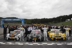 BMW Celebartions; 2nd Marco Wittmann, BMW Team MTEK BMW M3 DTM, 1st Bruno Spengler, BMW Team Schnitzer BMW M3 DTM, 3rd Timo Glock, BMW Team MTEK BMW M3 DTM
