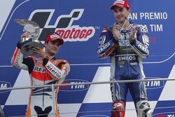 Race winner Jorge Lorenzo, second place Dani Pedrosa