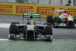 Lewis Hamilton, Mercedes AMG F1 W04 runs wide at the final chicane