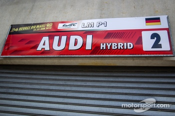 Pit sign for #2 Audi Sport Team Joest Audi R18 e-tron quattro