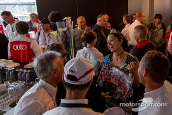 Miss 24 Hours of Le Mans visiting with the Audi drivers