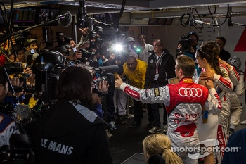 #2 Audi team celebrating pole for the 24 Hours of Le Mans