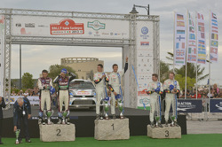 Winners Sébastien Ogier and Julien Ingrassia, Volkswagen Polo WRC, Volkswagen Motorsport, second place Thierry Neuville and Nicolas Gilsoul, Ford Fiesta WRC, Qatar M-Sport WRT, third place Jari-Matti Latvala and Miikka Anttila, Volkswagen Polo WRC, Volksw