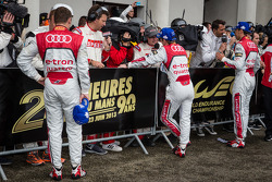 Race winners Tom Kristensen, Allan McNish and Loic Duval give TV interview