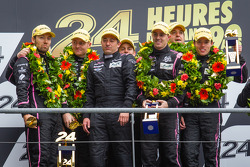 LMP2 podium: class winners Bertrand Baguette, Ricardo Gonzalez, Martin Plowman, second place Olivier Pla, David Heinemeier Hansson, Alex Brundle, with Sébastien Philippe
