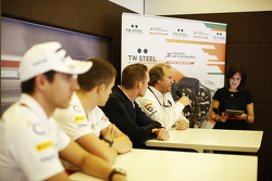 Robert Fernley, Sahara Force India F1 Team Deputy Team Principal talks at a media call.
