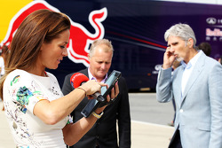 Natalie Pinkham, Sky Sports Presenter with Johnny Herbert, and Damon Hill, Sky Sports Presenter