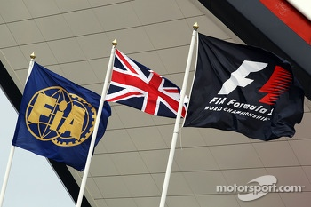 FIA, Union and F1 flags outside the Wing